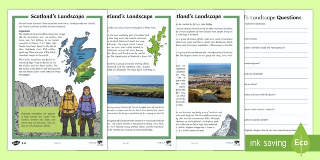 Scotland's Landscape Differentiated Reading Comprehension Activity-Scottish