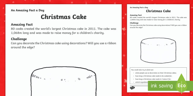 Christmas Cake Activity Sheets - Amazing Fact Of The Day, activity sheets, PowerPoint, starter, morning activity, December, Christmas