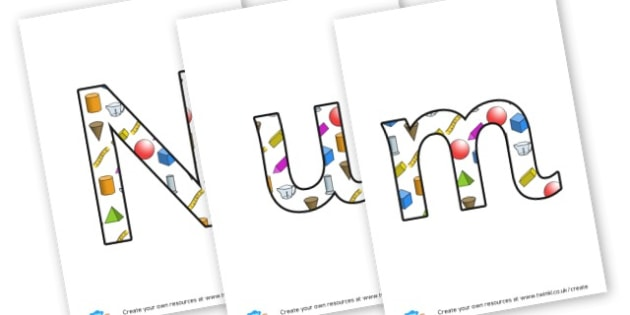 Numbers display lettering - Maths Area Primary Resources, maths is fun, signs, labels, areas