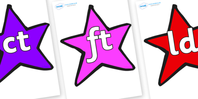 Final Letter Blends on Stars (Multicolour) - Final Letters, final letter, letter blend, letter blends, consonant, consonants, digraph, trigraph, literacy, alphabet, letters, foundation stage literacy
