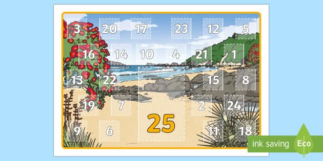 New Zealand Summer Random Acts of Kindness Calendar - Summer, Random acts of kindness, advent, calendar, religion, non-religious, non-religion, neutral