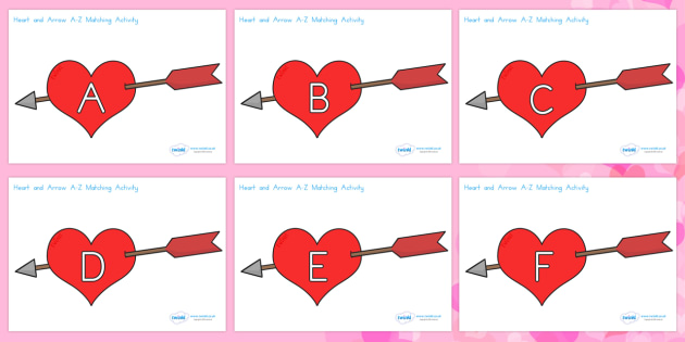 Valentine's Day Hearts and Arrows Uppercase Matching Activity