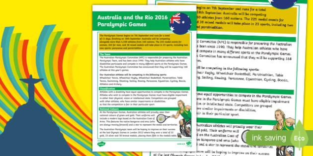 Australia Rio Paralympics 2016 Fact File