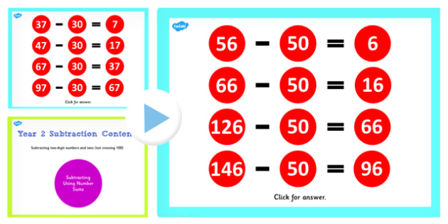 Year 2 Subtracting 2 Digit Numbers and Tens Not Crossing 100