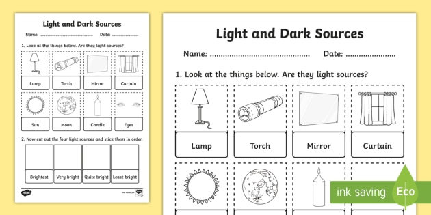 Light and Dark Sources Cut and Stick Worksheet - worksheet, cut and stick, light and dark sources, light and dark, cut, stick, cut and stick worksheet