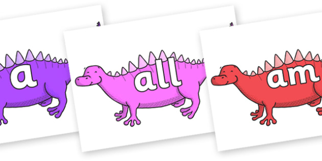 Foundation Stage 2 Keywords on Scelidosaurus - FS2, CLL, keywords, Communication language and literacy,  Display, Key words, high frequency words, foundation stage literacy, DfES Letters and Sounds, Letters and Sounds, spelling