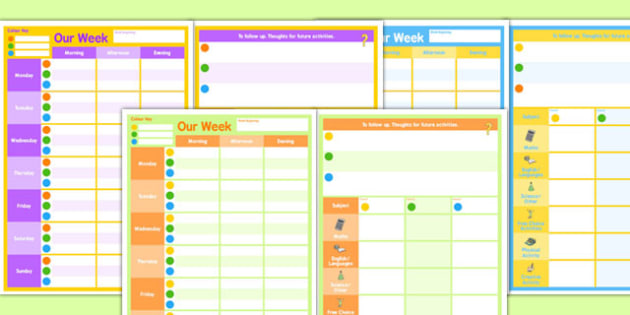 Weekly 3 Child Planner - planning, plans, charts, chart, week