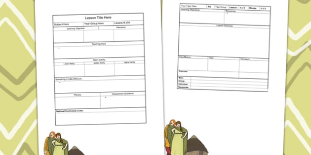 Iron Age Themed Editable Individual Lesson Plan Template - plans