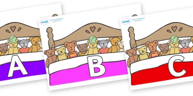 A-Z Alphabet on Ten in a Bed - A-Z, A4, display, Alphabet frieze, Display letters, Letter posters, A-Z letters, Alphabet flashcards