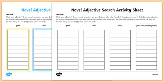 Novel Adjective Search Activity Sheet, worksheet