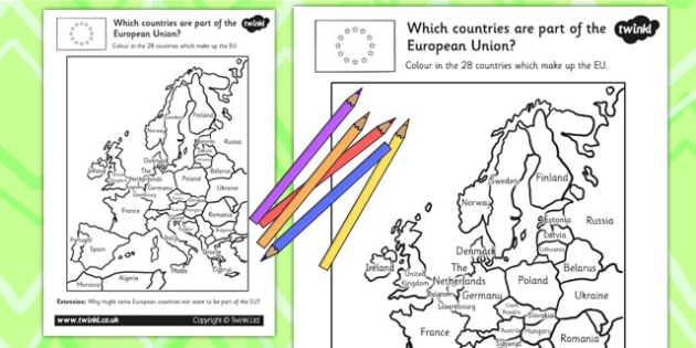 Colour in the European Country Activity - europe, geography