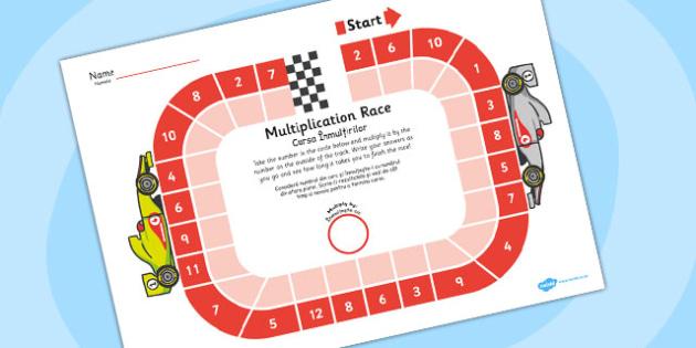 Multiplication Race Worksheet Romanian Translation - romanian