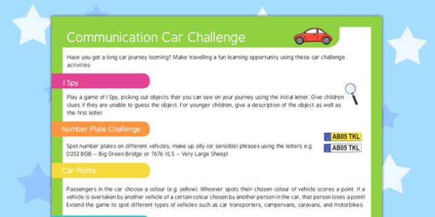 Communication Car Challenge - communication, card, challenge
