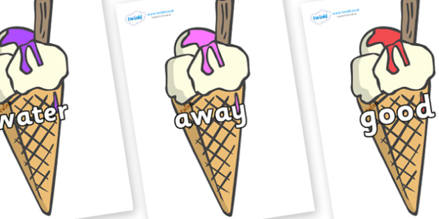 Next 200 Common Words on Ice Creams to Support Teaching on The Very Hungry Caterpillar - Next 200 Common Words on  - DfES Letters and Sounds, Letters and Sounds, Letters and sounds words, Common words, 200 common words