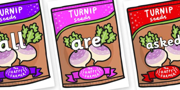 Tricky Words on Seeds - Tricky words, DfES Letters and Sounds, Letters and sounds, display, words