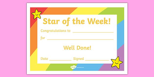 Star of the Week Award Certificate - Star of the week, certificate, foundation, good behaviour award, behaviour management, behaviour reward