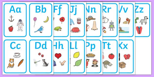 Alphabet Picture Cards - alphabet, a-z, alphabet cards, a-z cards