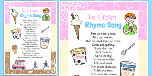 Ice Cream Rhyme Song Card - ice cream, rhyme, song card, card