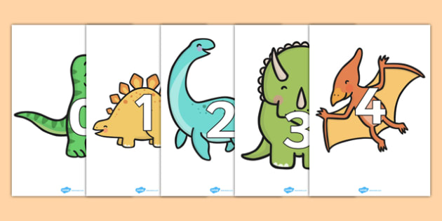 Numbers 0-20 on Dinosaurs - Foundation Numeracy, Number recognition, Number flashcards, Dinosaurs, Dinosaur resource, t-rex, stegosaurus, raptor, iguanodon, tyrannasaurus rex, numeracy, numbers, numbers to 20, dinosaurs