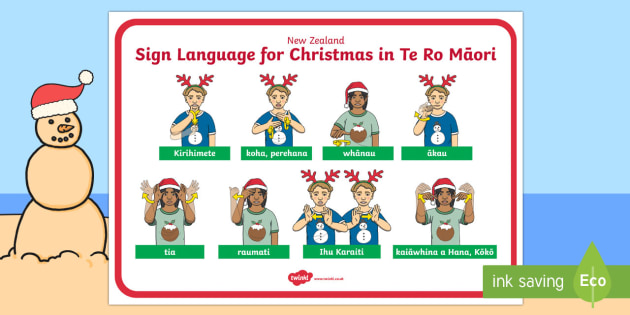 New Zealand Sign Language Te Reo Christmas Display Poster