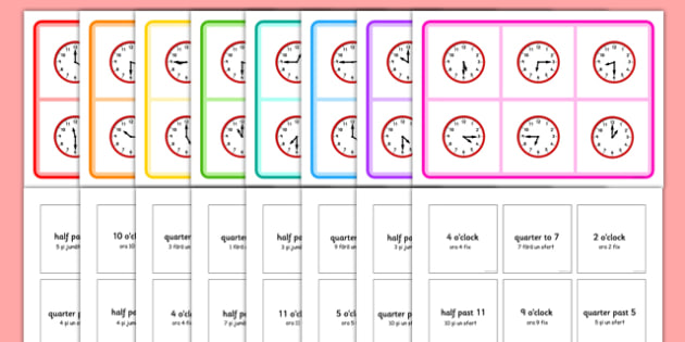 Mixed Time Bingo Romanian Translation - romanian, Mixed time bingo, time game, Time resource, Time vocabulary, clock face, Oclock, half past, quarter past, quarter to, shapes spaces measures