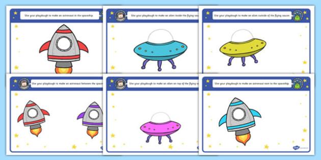 Alien Playdough Mats - alien, playdough mats, space, playdough, mats