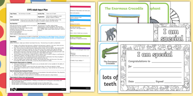 EYFS I Have Lots of Teeth Adult Input Plan and Resource Pack to Support Teaching on The Enormous Crocodile