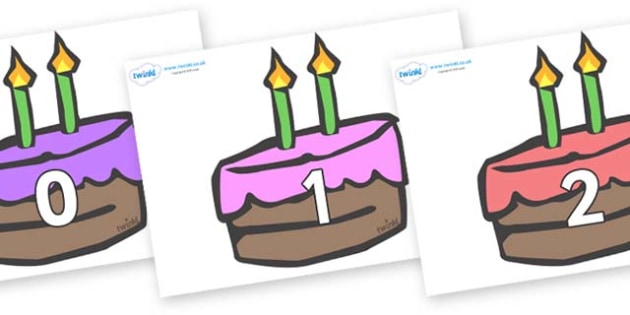 Numbers 0-50 on Cakes - 0-50, foundation stage numeracy, Number recognition, Number flashcards, counting, number frieze, Display numbers, number posters