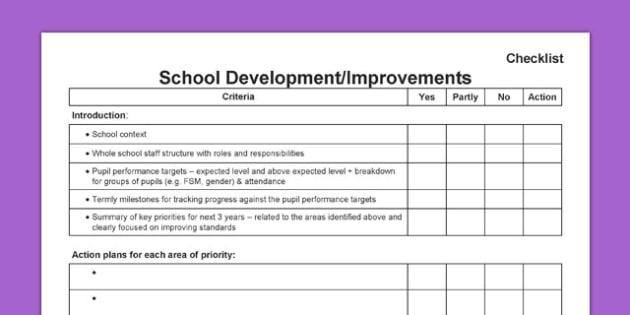 School Improvement Development Plan SIDP Checklist - SIP, school improvement plan, SLT, SMT, management, progress, assessment, inspection