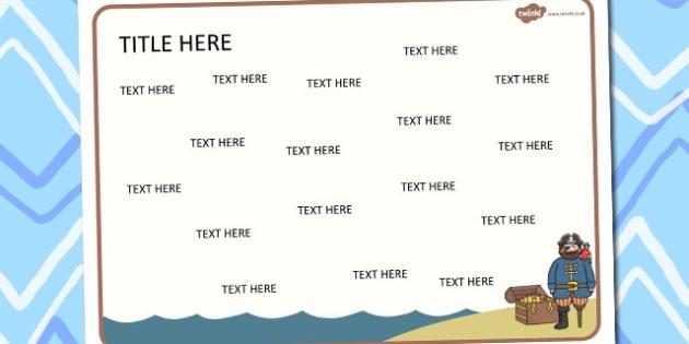Pirates Themed Editable Word Mat - pirates, editable, word mat