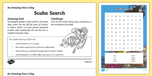 Scuba Search Activity Sheet, worksheet