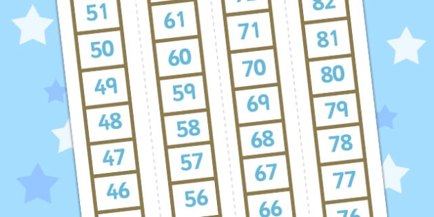 Number Ladder 0-120 - numbers, ladders, visual, aid, numeracy