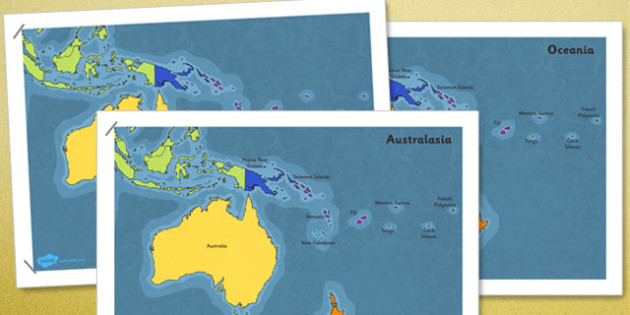 Map of Australasia Oceania Poster - australia, map, australasia, oceania, poster, display