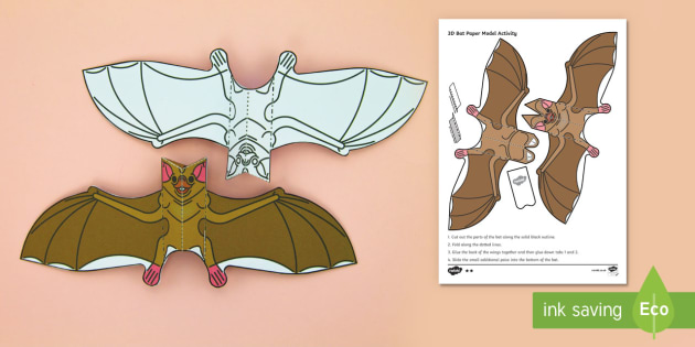 Simple 3D Bat Halloween Display Decoration Paper Craft