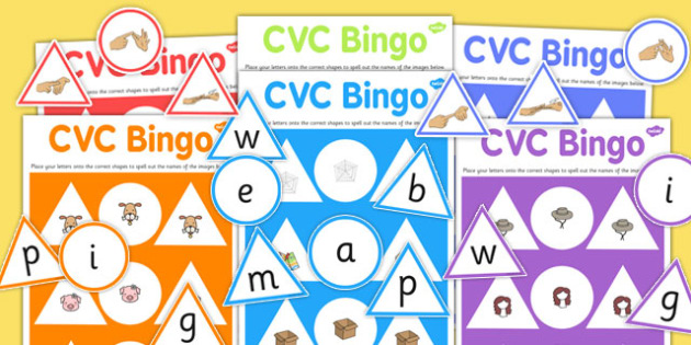CVC Bingo Game with British Sign Language - cvc, bingo, game