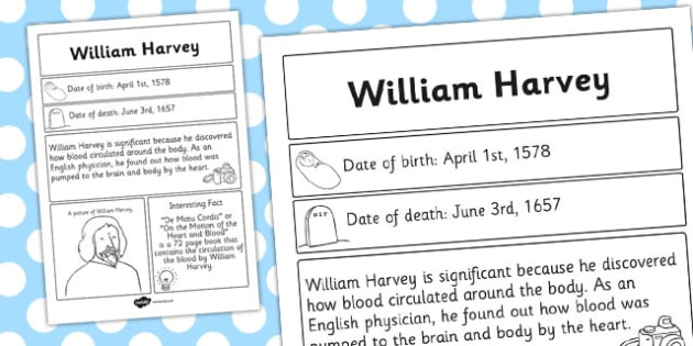 William Harvey Significant Individual Fact Sheet - fact, sheet
