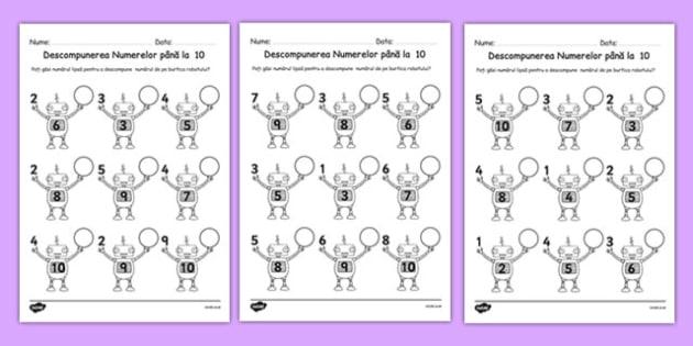 Descompunerea Numerelor pana la 10 - matematica