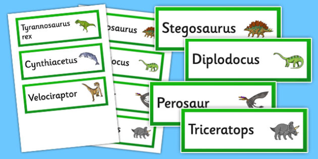Realistic Dinosaurs Word Cards - realistic, dinosaurs, word cards, word, cards
