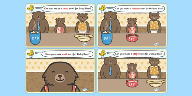 Goldilocks and the Three Bears Playdough Mat - Goldilocks and the Three Bears, playdough, mat, traditional tales, tale, fairy tale, three bears, porridge, cottage, beds, flashcards