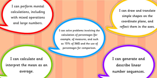 2014 Curriculum Year 6 Maths Assessment I Can Speech Bubbles