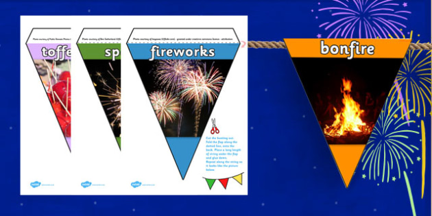 Bonfire Night Display Photo Bunting - display, flags, festivals