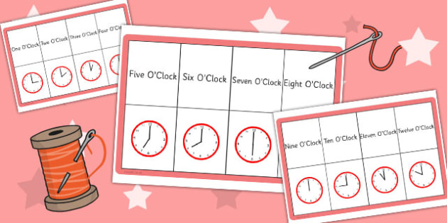 O Clock Matching Threading Cards - thread, match, activities