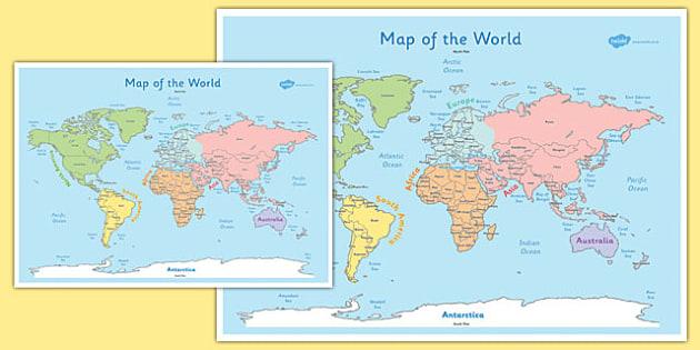 KS1 World Map Poster - ks1, world, map, poster, display, pack