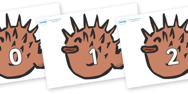 Numbers 0-31 on Puffer Fish - 0-31, foundation stage numeracy, Number recognition, Number flashcards, counting, number frieze, Display numbers, number posters