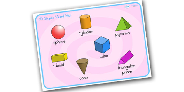 3D Shape Word Mat Stick and Ball - 3D, shapes, word mat, keywords