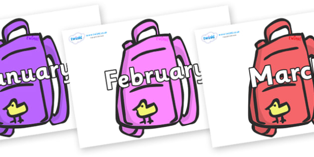 Months of the Year on Backpacks - Months of the Year, Months poster, Months display, display, poster, frieze, Months, month, January, February, March, April, May, June, July, August, September