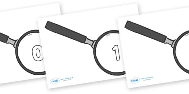 Numbers 0-50 on Magnifying Glass - 0-50, foundation stage numeracy, Number recognition, Number flashcards, counting, number frieze, Display numbers, number posters