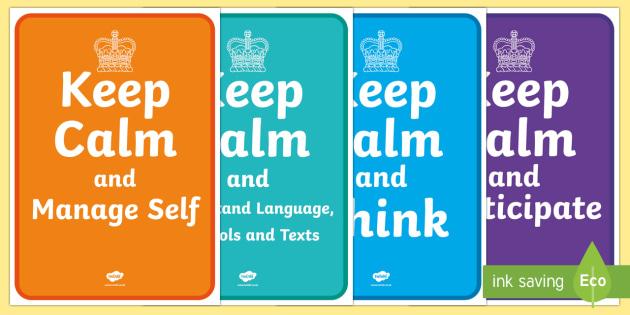 New Zealand Key Competencies Keep Calm Display Posters