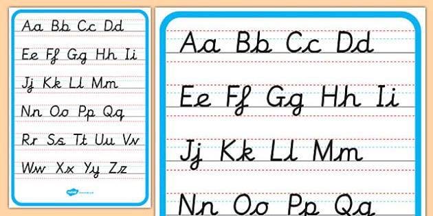 Cursive Alphabet Letter Formation Poster Upper and Lower Case - cursive, alphabet, letter formation, poster, display, lower case, upper case