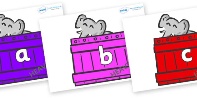 Phase 2 Phonemes on Elephants (Crates) to Support Teaching on Dear Zoo - Phonemes, phoneme, Phase 2, Phase two, Foundation, Literacy, Letters and Sounds, DfES, display